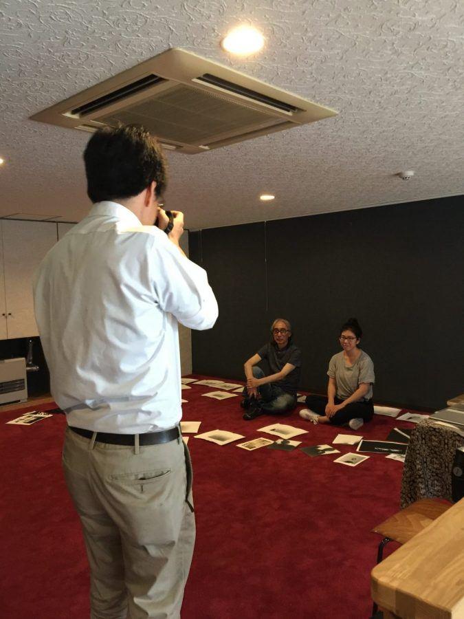 Mr. Souda and Kioto being interviewed for local newspaper, Tokachi Mainichi Shinbun